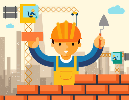 Builder builds brick wall of house. Worker or masonry, work with trowel, man in helmet. Vector illustration Иллюстрация
