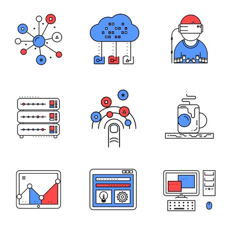 desktops: Web services line icons set. Computer technology, hosting server, vector illustration