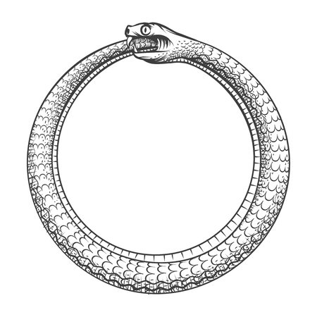 Magic symbol of Ouroboros. Tattoo with snake biting its own tail. Animal and infinity, mythology and serpent, vector illustration Ilustração