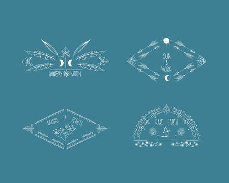 vintage element: Ethnic hipster frame set. Rustic design, vintage element tribal, vector illustration Illustration