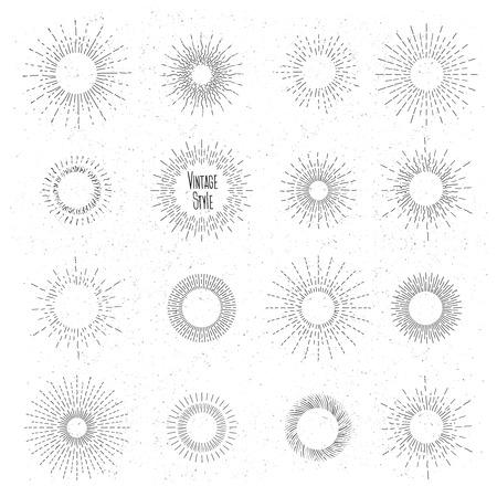 Retro hand drawn sunburst set. Sun ray frames in vintage hipster style. Badge and burst, ray graphic, vintage design, collection element radial. Vector illustration Ilustração