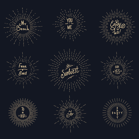 sunburst: Vintage sunburst hipster logo elements. Retro sunbeam and sunshine, hipster graphic design, vector illustration Illustration