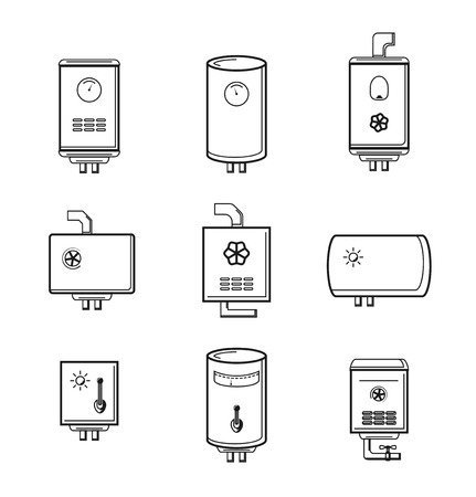 boiler: Vector boiler icons set. Pipe and temperature, tank electric, device for home illustration