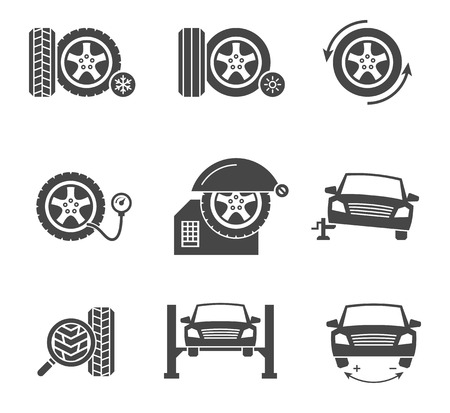Vector tire wheel service black icons set. Automobile calibration, service symbol, jack and workshop illustration Vectores