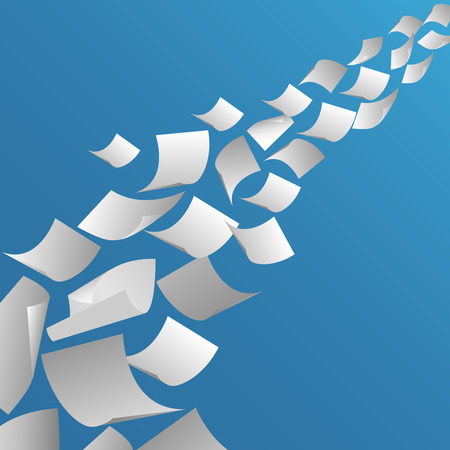 air flow: White paper sheets flying in the air. Fly page blank, paperwork and document, vector illustration Illustration