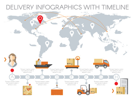 Delivery infographics with timeline. Management warehouse, business logistic, transportation service flat design. Vector illustration Ilustrace
