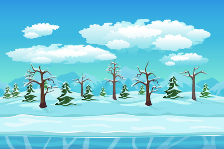 Cartoon winter landscape with ice, snow and cloudy sky. Seamless vector nature background for games. Winter and tree, season xmas illustration
