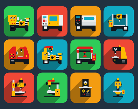 factory automation: Special machine tools flat icon set. Technology industry, work industrial factory production, vector illustration