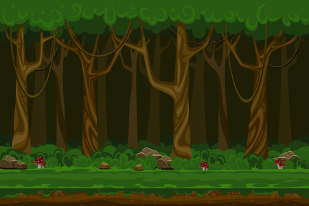disegno: Cartoon giochi per computer paesaggio foresta di notte. pianta verde, ambiente naturale, il legno ed erba, illustrazione vettoriale Vettoriali