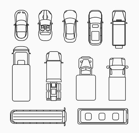 ciężarówka: Zestaw samochodów cienka linia ikony widok z góry. Transportu i ruchu drogowego, transportu i samochodów płaska. Ilustracji wektorowych