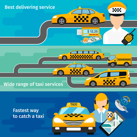vehicle graphics: Taxi service banner horizontal set. Urban transportation. Mobile taxi app, traffic and location, map gps. Vector illustration