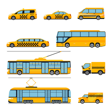 public transport: City public transport icons flat set. Urban vehicles. Train and bus, tram and car, vector illustration