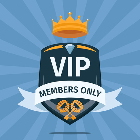 private: VIP Club members only. Logo emblem, gold and luxury, membership icon, exclusive and priority, vector illustration