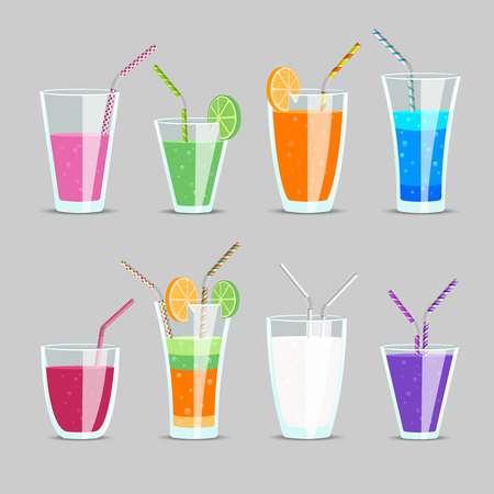 a straw: Set of cocktail and fruit juice drinks. Glass and milkshake, orange and tonic, mix exotic ingredient with straw, vector illustration Illustration