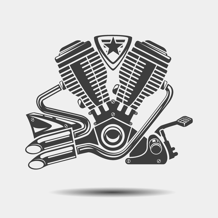 car detail: Car engine or motorbike motor black icon. Power motor, metallic cylinder, vector illustration