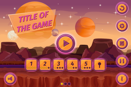alien landscape: Sci-fi game cartoon user interface with control elements, buttons, status bar and icons on seamless alien planet landscape. Mountain place, play level, visualization fantasy. Vector illustration
