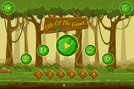 forest landscape: Cartoon game user interface with control elements, buttons, status bar and icons on seamless forest landscape. Tree and forest, plant green natural. Vector illustration