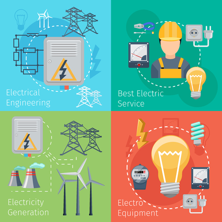 electrical energy: Electricity energy concepts vector set. Power electrical and industry illustration