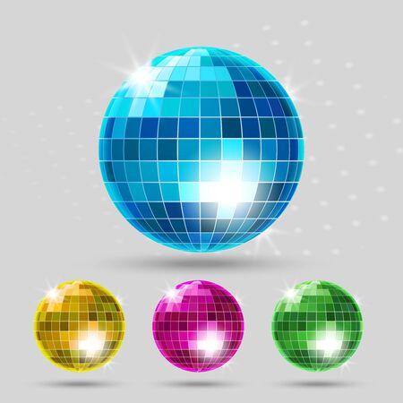 club: Disco ball set. Club sphere, reflection shiny, dance entertainment. Vector illustration