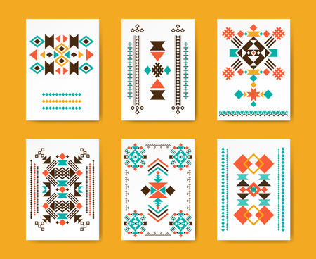 motives: Geometric hipster tribal triangular flyers. Ethnic traditional graphic, creative pattern, vector illustration