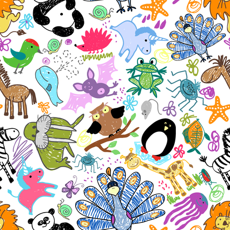 Childrens drawings seamless pattern with animals. Whale and unicorn, snail and mouse, hedgehog and owl, vector illustration