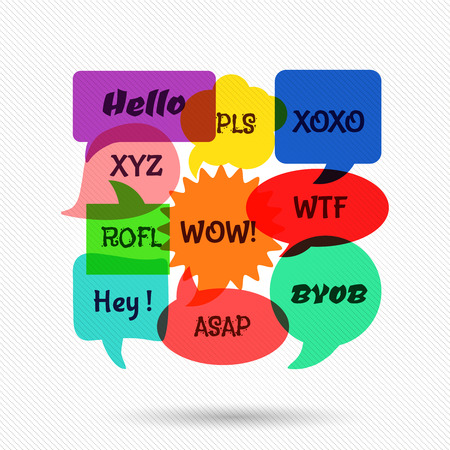discussion: Speech bubbles with short messages. Communication dialog, discussion sign, web chat. Vector illustration Illustration