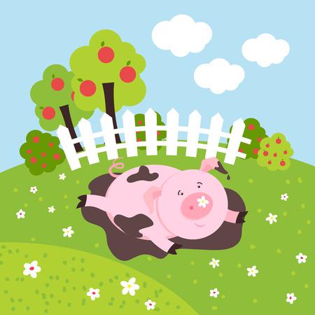 smilling: Cute smilling vector pig on a farm field. Animal mammal, cartoon happy pink piglet illustration