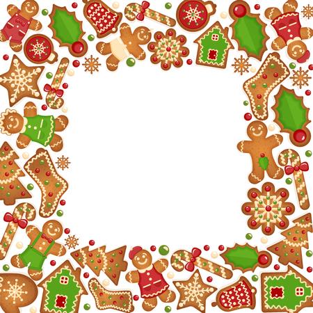 galletas de navidad: Galletas de jengibre marco del vector. Decoración dulce Alimentos navidad, jengibre dulce y galletas ilustración Vectores