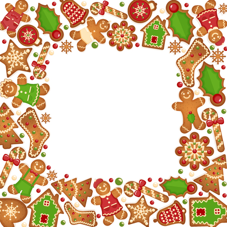 christmas cookie: Gingerbread cookies vector frame.  Food dessert decoration christmas, sweet ginger and biscuit illustration