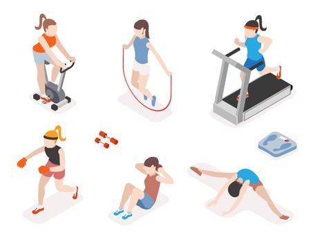 Fitness vrouwen in de sportschool, gymnastiek training en yoga-oefeningen. 3d isometrische pictogrammen. Sport mensen, gezondheid en touwtje springen, vector illustratie