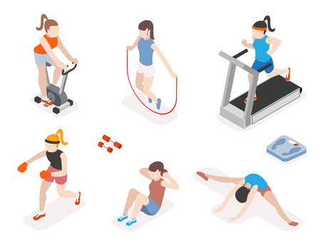 workout gym: Fitness women in gym, gymnastics workout and yoga exercises. 3d isometric icons. Sport people, health and jumping rope, vector illustration