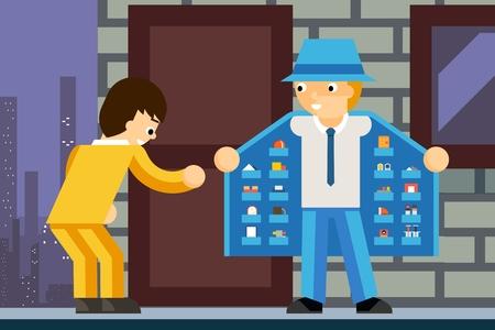 drug dealer: Illegal product dealer. Narcotic and client, deal criminal, inner pocket, vector illustration Illustration