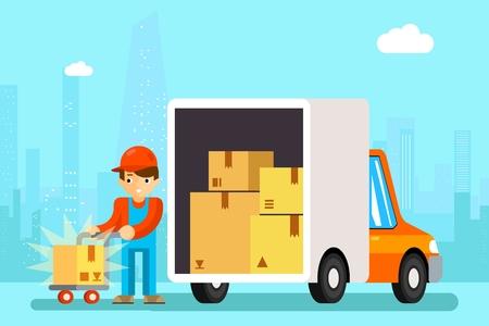 montacargas: hombre entrega las cámaras de techo de entrega de descarga. Transporte de carga, el cartón y el vehículo, ilustración vectorial