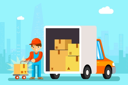 Delivery man unload delivery car boxes. Transportation cargo, cardboard and vehicle, vector illustration