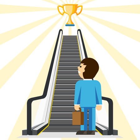 goal achievement: Business consulting. Comfortable way to success. Goal and cup, achievement and stair, step comfort, businessman lift, vector illustration