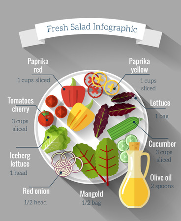 salads: Salad cooking infographics. Vitamin and cucumber, pepper and lettuce, Vector illustration
