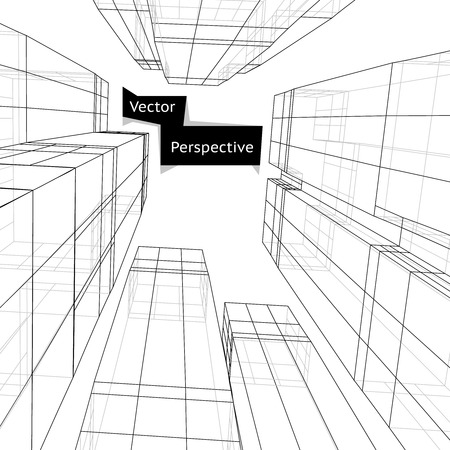 building structure: Wireframe of 3d building in perspective. Skyscraper perspective, line structure, construction project. Abstract vector illustration Illustration