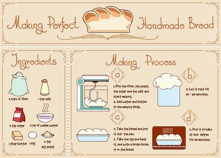 levadura: Receta de pan casero con ingredientes. Dibujado a mano ilustración vectorial. Panadería y la levadura, el azúcar y la sal, el procedimiento de mezcla Vectores