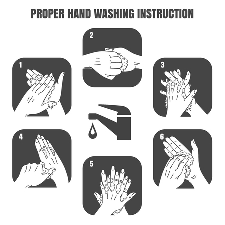 washing hands: Proper hand washing instruction black vector icons set. Hygiene and health, sanitary design illustration Illustration