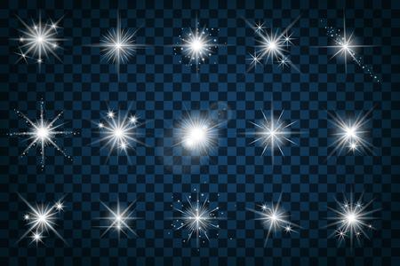 estrella: las estrellas brillan con brillos y destellos. Efecto brillo, resplandor diseño, muestra el elemento de centelleo, luz gráfico, ilustración vectorial
