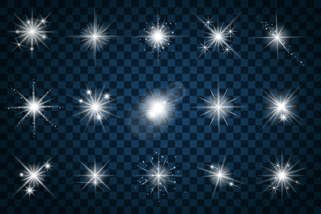 Shine stars with glitters and sparkles. Effect twinkle, design glare, scintillation element sign, graphic light, vector illustration Stock fotó - 45979889