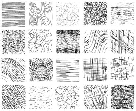 Hatch, texture disegnati a mano vettore set tratteggiata e inchiostro lineare. Disegno bianco nero, modello astratto sfondo illustrazione