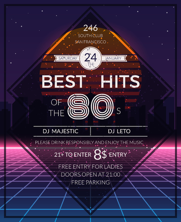 event party: Retro 80s hits party poster. Neon and disco event, deejay music, vector illustration Illustration