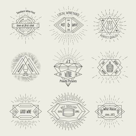 set design: Winemaking and winehouse label or emblem set in hipster style. Drink symbol for restaurant, retro vintage sign, alcohol bottle, vector illustration