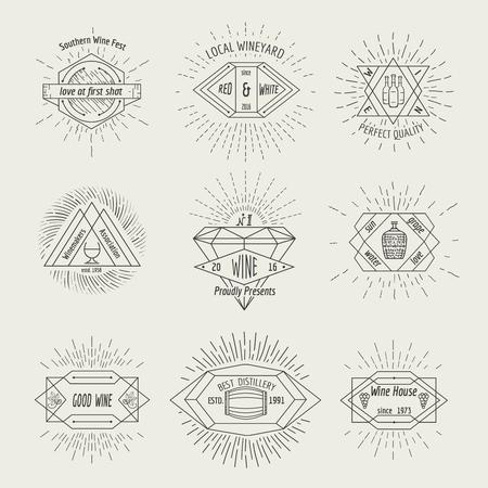 Winemaking and winehouse label or emblem set in hipster style. Drink symbol for restaurant, retro vintage sign, alcohol bottle, vector illustration