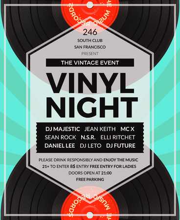Vector vintage vinyl LP DJ party poster. Disco and sound, musical audio party illustration Illustration
