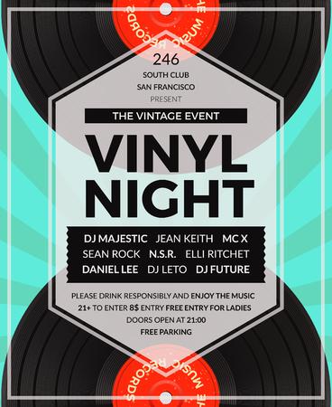 fiesta dj: Vector vendimia vinilo LP DJ Cartel del partido. Disco y sonido, ilustraci�n partido de audio musical Vectores