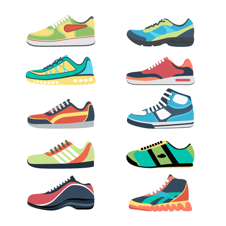 deporte: Calzado deportivo vector conjunto. Sportwear Moda, zapatilla de deporte todos los días, ropa calzado ilustración