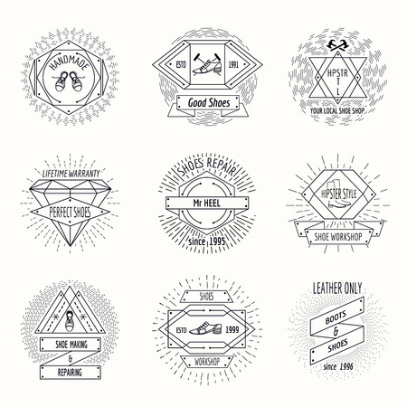emblems: Shoemaking logo or shoes repair labels in hipster vintage style. Linear set repair emblem, logotype company. Vector illustration Illustration