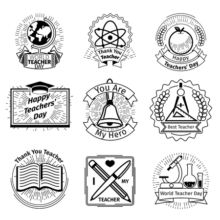 vintage stamp: Teachers day emblems set. School and education logos. Sign vintage stamp, study and knowledge, vector illustration